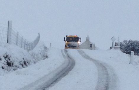 A snow plough clears the Kergord road - Photo: Elaine Falconer