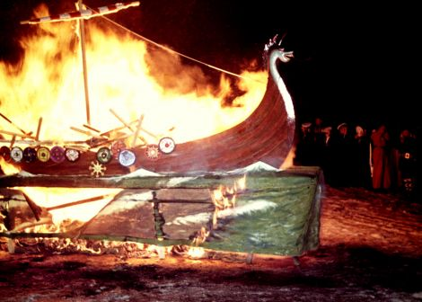 The burning of the Junior Up Helly Aa galley in 1959.