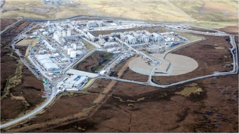The Shetland Gas Plant before the first gas was received in February. Photo: Total.