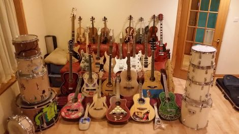 The wide range of instruments that will go up for auction or be raffled on the night.