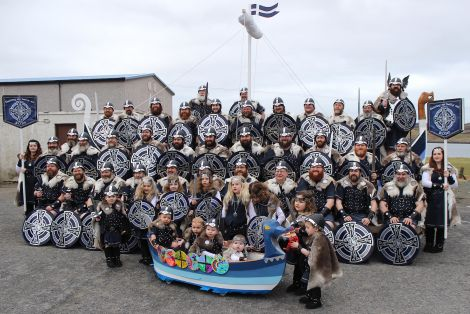 Vikings young and old with their galleys big and small outside Brae hall on Friday morning. Photo Hans J Marter/Shetnews