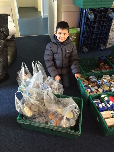 Young Matthew pancake fundraiser enabled him to buy food to donate to the local Salvation Army collection.