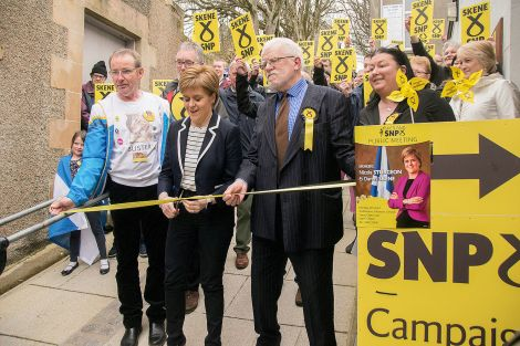 Nicola Sturgeon cutting the ribbon on the SNP's local campaign HQ at Bank Lane on Monday afternoon. Photo: David Spence