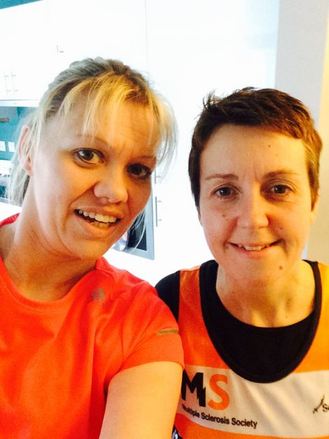 Frances Tait and Fiona Shearer are running the London Marathon to raise money for the MS Society.