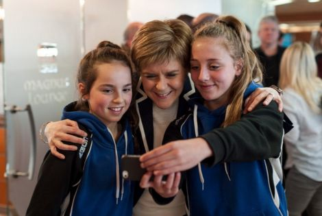 First Minister Nicola Sturgeon posed for selfies with islanders travelling north on the ferry from Aberdeen on Sunday night. Photo courtesy of the SNP