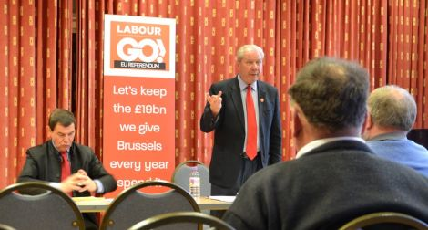 Making the case for an EU exit at Islesburgh on Friday night were former Labour trade minister Nigel Griffiths and former SNP deputy leader Jim Sillars. Photo: Shetnews