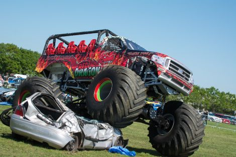 The Red Dragon monster truck: in Shetland this weekend for some car crushing.