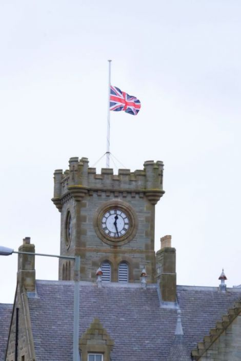 The fUnion flag flies at half mast over Lerwick Town Hall in honour of murdered MP Jo Cox. Photo SIC