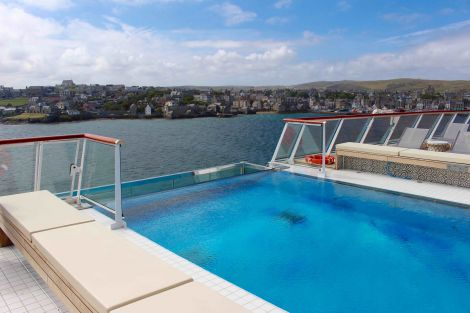 A view of Lerwick from the rooftop swimming pool on board the Viking Sea. Photo: Shetnews/Chris Cope