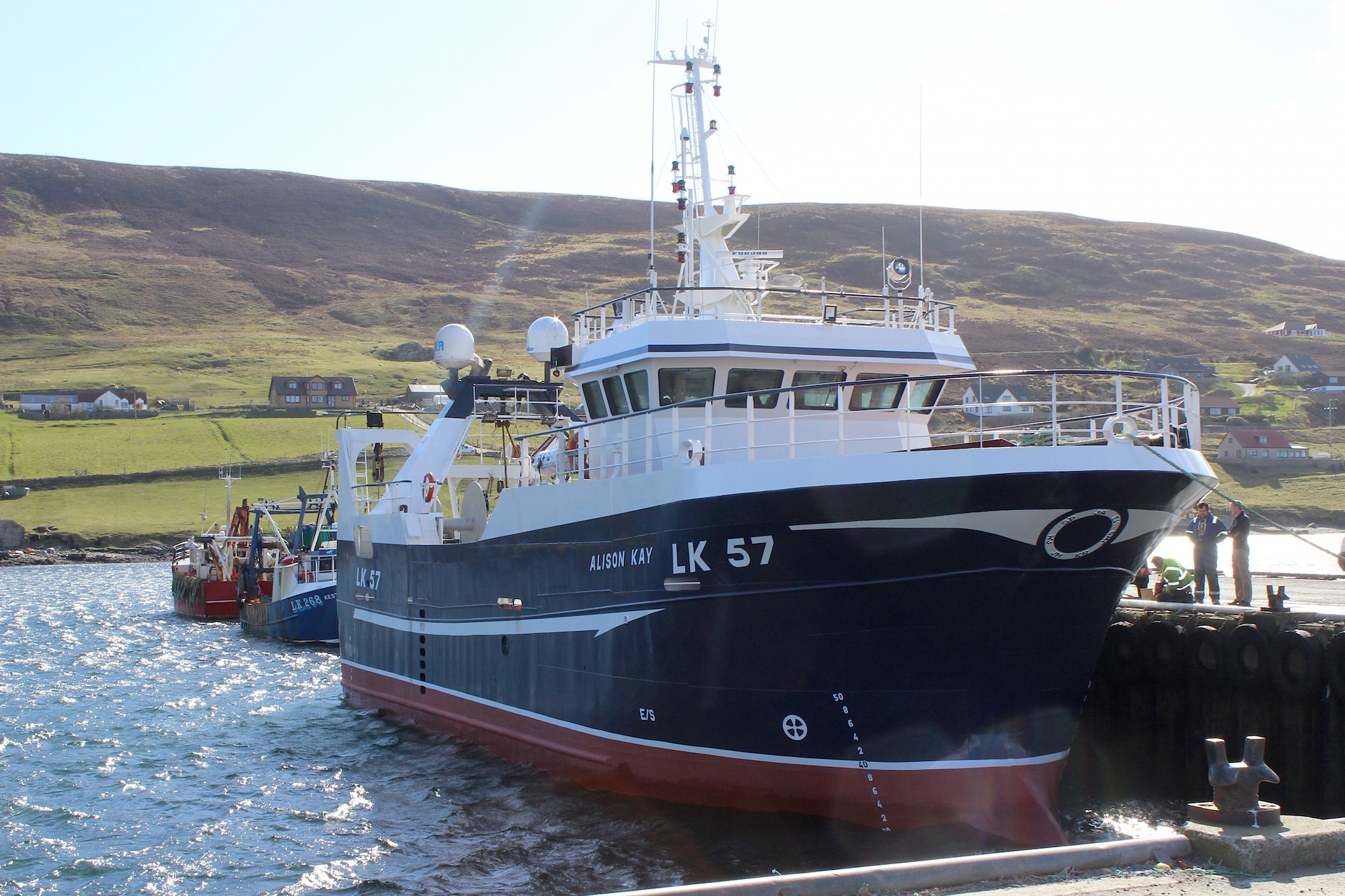The newly-lengthened Alison Kay at Scalloway in April.
