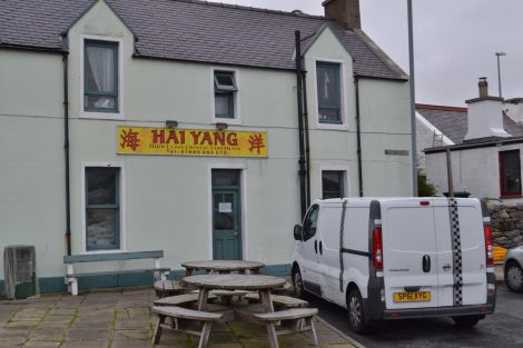 The Hai Yang Chinese restaurant in Scalloway was hardest hit by the raids, with five people arrested. Photo: BBC Radio Shetland