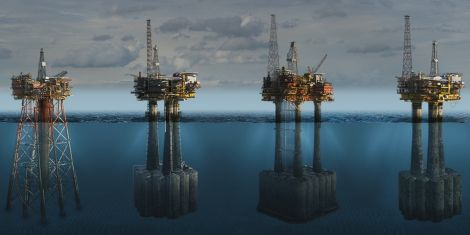 Shell wants to leave the concrete legs of its Brent oil platforms in the North Sea after decommissioning. Image courtesy of Shell