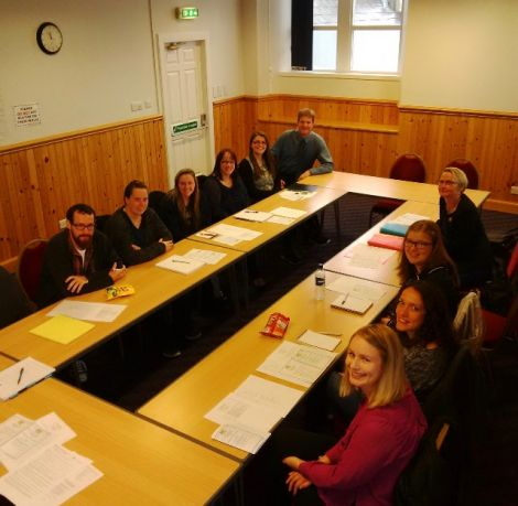 Shetland's probationer teachers at their recent induction day with the SIC's quality improvement manager Audrey Edwards and quality improvement officer Robin Calder. Clockwise from left: David Burke, Emma Black, Emma Murray, Linda Tait, Kirstin Sineath, Cheryl Cluness, Nicola Wagstaff and Laura McIntyre. Absent from the photo is Lynsey Spence.