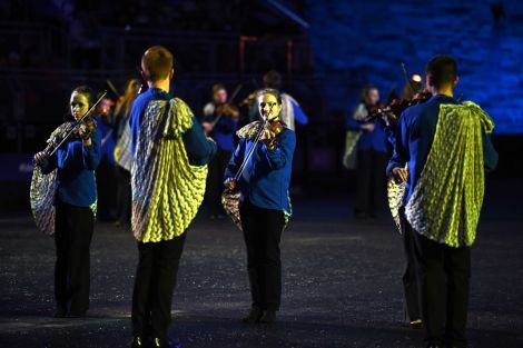 A total of 68 fiddlers, the overwhelming majority from Shetland, have participated this year. Photo courtesy of The Royal Edinburgh Military Tattoo.