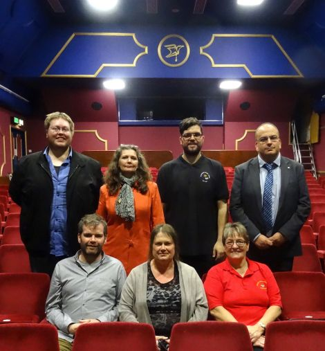 The Garrison Theatre steering group (left to right): Robert Lowes, Bryan Peterson, Izzy Swanson, Debbie Nicolson, Martin Summers, Sheila Manson and Raymond Mainland