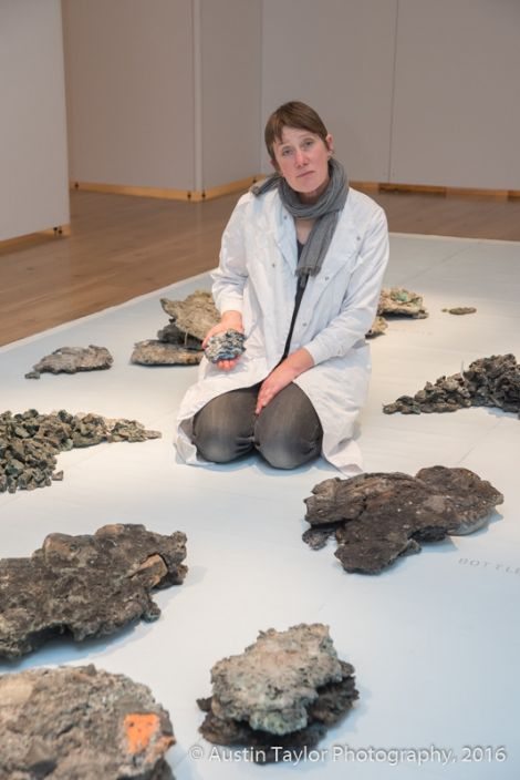 Artist Julia Barton and her installation.