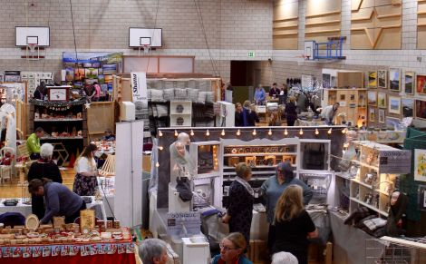 Punters begin flocking to the Shetland Craft Fair on Saturday morning. Photo: Chris Cope/ShetNews