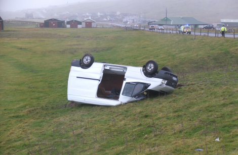 A man was cut free from the van following the accident on Friday morning. Photo: Alex Garrick-Wright/Shetland News