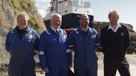 The crew of the Fair Isle ferry Good Shepherd IV - Kenny Stout, Neil Thomson, Shaun Milner and Ian Best. Photo courtesy of BBC Scotland.