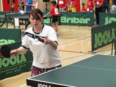 Zoe Buchanan representing Britain in table tennis and badminton.