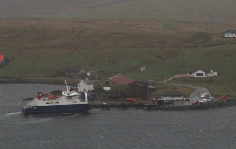 The Whalsay ferry Linga, seen here docking at Vidlin at midday on Friday, will make her last run at 2pm - Photo: Hans J Marter/Shetland News
