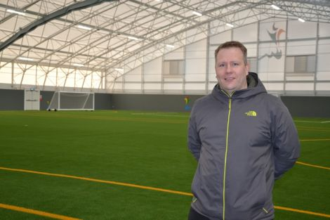 Clickimin Leisure Complex manager Robert Geddes is delighted with the new artificial surface. Photo: Shetland News/Neil Riddell