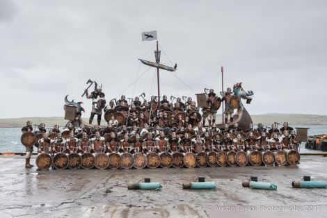 The traditional squad photo in the galley Falcon at the Bressay slip.