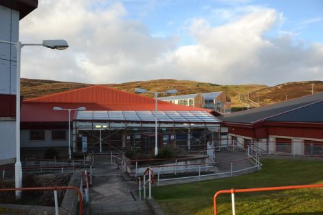 The glazed area of the Clickimin would be demolished and replaced with a new gym, entrance and reception area. Photo: Shetland News/Neil Riddell