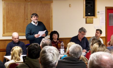 Jonathan Wills speaking at the latest Althing debate as Ryan Thomson (left), chairwoman Karen Fraser (centre), Donald Murray (second from right) and Thor Holt (right) look on. Photo: Yetti Biscuit