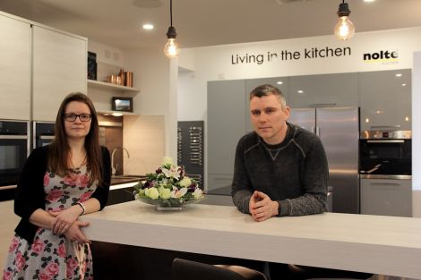 Anna Moar and Lewis Moncrieff are looking forward to welcoming the first customers to the company's new kitchen showroom. Photo: Hans J Marter/Shetland News