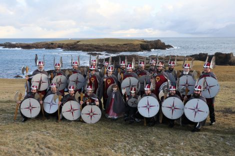 Jarl Christopher Gray and his squad at Outer Skaw, Unst, earlier today (Friday) - Photo: John Coutts