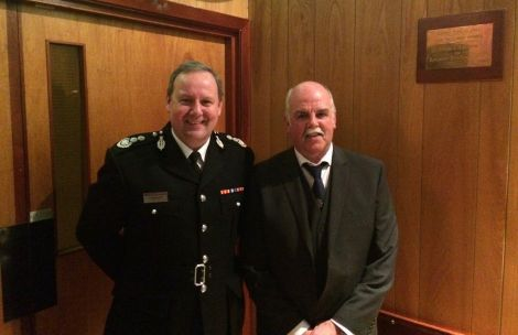 Jim Moar pictured with Scotland's chief fire officer Alasdair Hay.