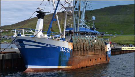 The scallop dredger King Challenger berthed at Blacksness Pier, Scalloway - Photo: MAIB