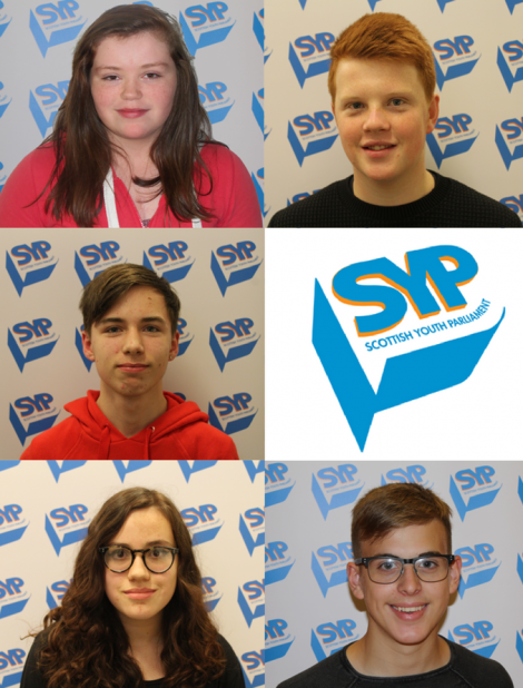 The five candidates are (clockwise from top left corner): Dannii Coleman, Charlie Haddon, Sonny Thomason, Carys Nield and Lewis Johnson
