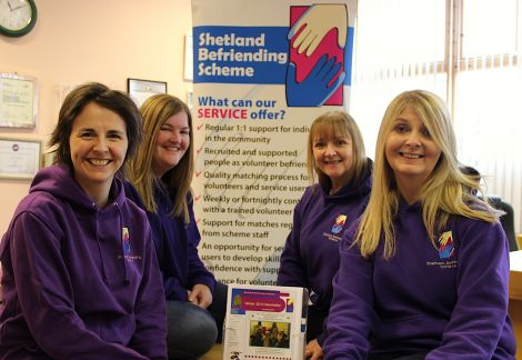Shetland Befriending Scheme are (from left to right): Lynn Tulloch, Project Co-ordinator; Laura Russell, ASN Development Worker; Mairi Jamieson, Young Adults Development Worker and Elaine Nisbet, 60+ Development worker. Missing from the photo is Amanda Brown, Children and Young People's Development Worker - Photo: Hans J Marter/ Shetland News