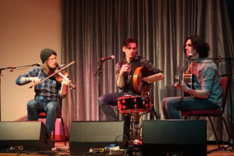 Ten Strings and a Goatskin at Sandwick Social Club on Friday night. Photo: Louise Thomason.