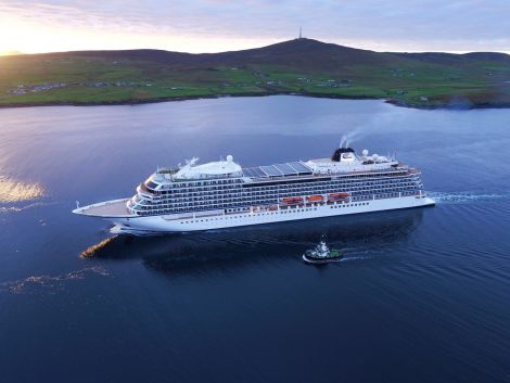 Viking Star will be the first cruise ship to berth at Lerwick Port Authority's new deep-water quay at Holmsgarth. The vessel is seen during a visit to the port in 2016 - Photo: Rory Gillies/Shetland Flyer.