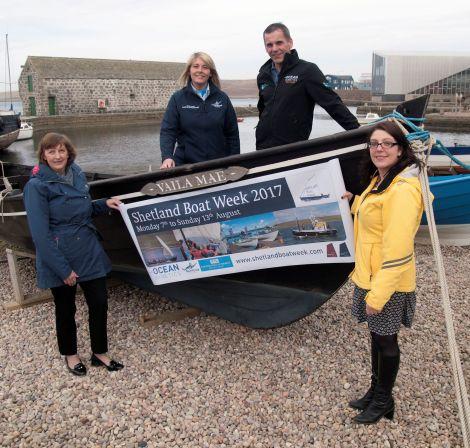 From left to right: Sandra Laurenson (Lerwick Port Authority), Jane Leask (NorthLink Ferries), Derek Leask (Ocean Kinetics) and Emma Miller (Shetland Amenity Trust).