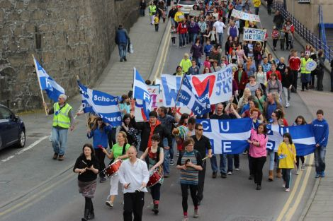 Communities United for Rural Education (CURE) marching against school closures back in June 2014. Photo: Shetland News.