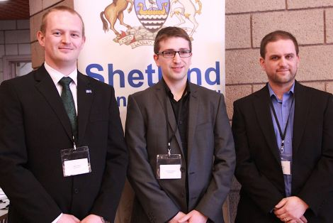 A new, youthful team of councillors for the North Isles: Alec Priest, Duncan Simpson and Ryan Thomson. Photo: Shetland News/Hans J. Marter.