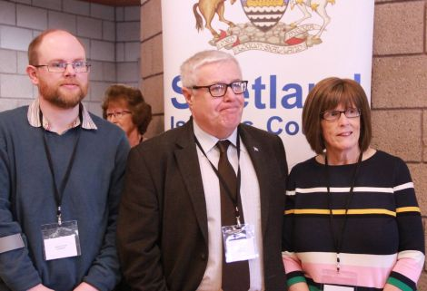 The three successful Shetland West councillors, Steven Coutts, Theo Smith and Catherine Hughson. Photo: Shetland News/Hans J. Marter.