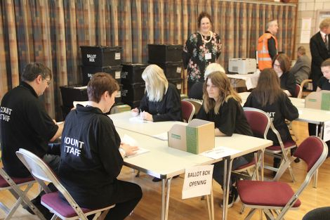 Counting of the 2017 SIC elections is underway in the function room at Clickimin Leisure Complex. Photo: Shetland News/Hans J. Marter.