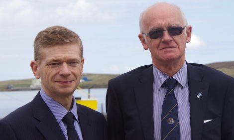New council leader Cecil Smith (right) and returning convenor Malcolm Bell (left). Photo: Hans J Marter/Shetland News