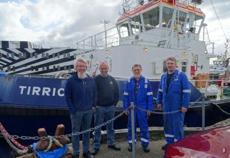 The crew on the last job were (left to right): master John Simpson, mate Robbie Irvine, engineer John Bateson and second engineer John Anderson.
