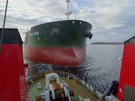 Tirrick involved in her last job at the port of Sella Ness on Thursday. All photos: courtesy of John Bateson