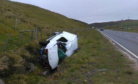 The Citroen Berlingo was extensively damaged. Photo: Shetland News