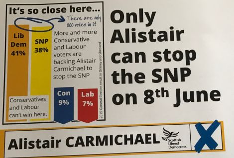 Incumbent Liberal Democrat Alistair Carmichael's election material presents the Northern Isles as a two-horse race, but Halcro Johnston disputes that.