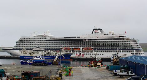 The Viking Star is the first cruise liner to berth at Lerwick Port Authority's new Mair's Pier on Monday morning. Photo: Chris Cope/Shetland News