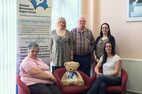 Shetland Bereavement Support Service volunteers (left to right): Linda Massie, Magdalena Gibson, Jim Shepherd, Ellen Hughson and Gwen Williamson.