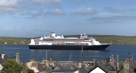 The cruise ship Rotterdam in Lerwick Harbour on Tuesday afternoon - one of an expected 76 vessels this summer. Photo: Shetland News/Neil Riddell.
